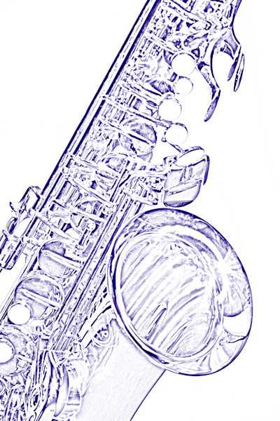 Blue Drawing of Saxophone 3356.603