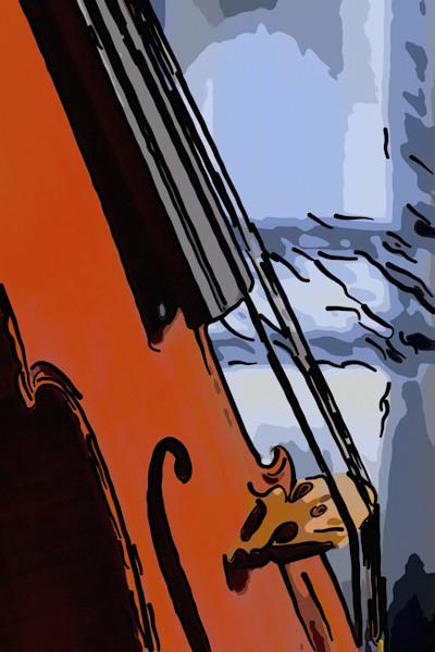 Antifque Violin Image Painting Print 362
