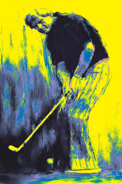 Jack Nicklaus Vintage Golf Painting | Sports artist Mark Trubisky | Custom Sports Art.