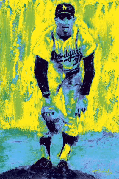 Sandy Kofax Vintage Painting | Sports artist Mark Trubisky | Custom Sports Art.