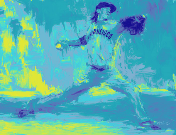 Tim Linecum Baseball Painting | Sports artist Mark Trubisky | Custom Sports Art.