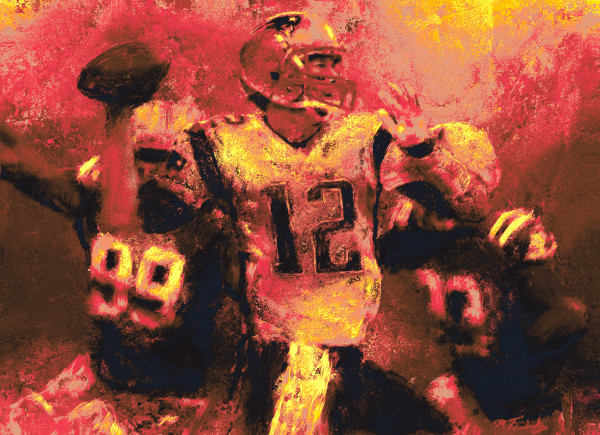 Tom Brady Football Painting | Sports artist Mark Trubisky | Custom Sports Art.