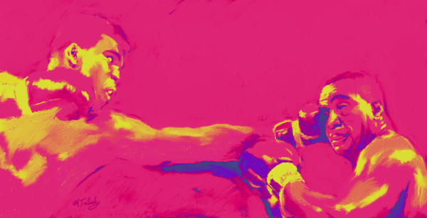 Muhammad Ali Vintage Painting | Sports artist Mark Trubisky | Custom Sports Art.
