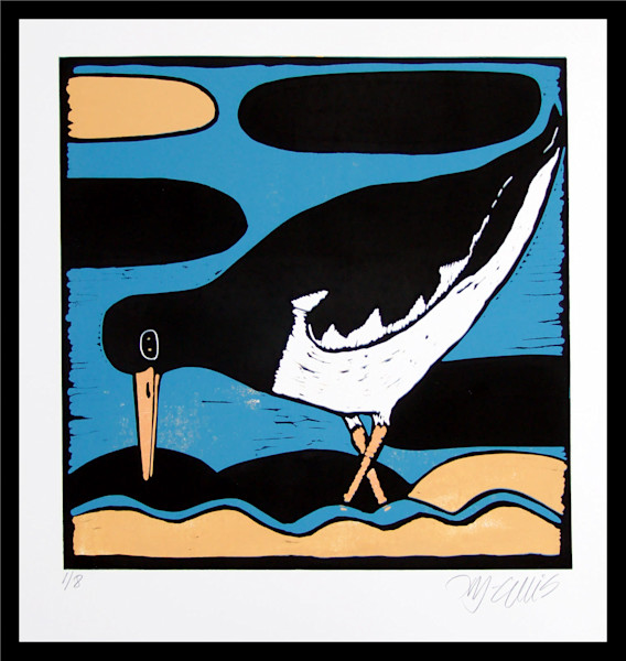 linocut with Oystercatcher in strong vivid colors, by printmaker Mariann Johansen-Ellis