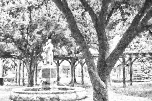 Pioneer Monument on Grapevine Main Street, BW