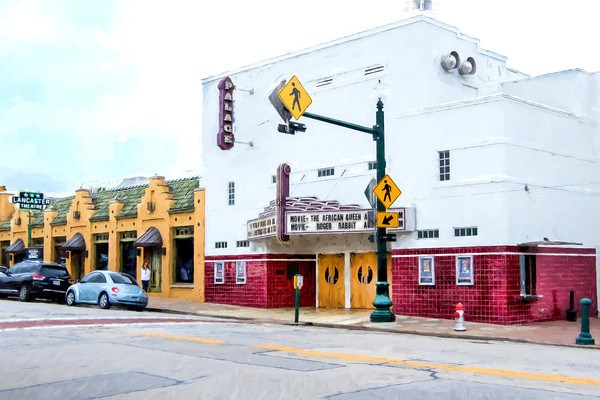 Photographs of Grapevine Texas Historic Main Street Palace Theater, Van Gogh Style