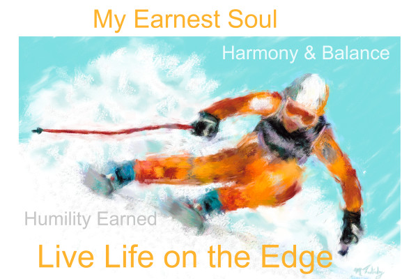 Poster of downhill ski competition   Sports artist Mark Trubisky   Custom Sports Art