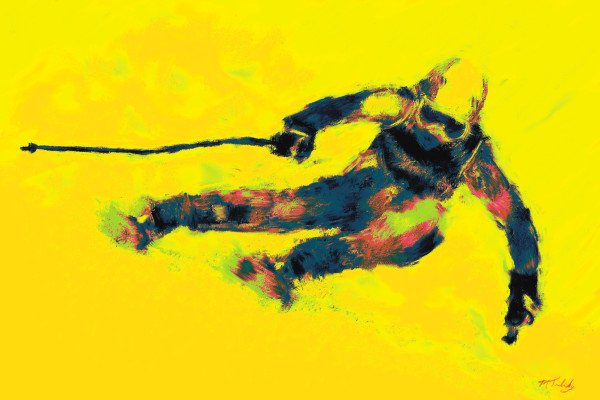 Downhill skiing Painting | Sports artist Mark Trubisky | Custom Sports Art.