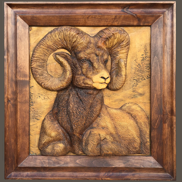 Rocky Mountain Bighorn Sheep Ram Relief Wood Carving