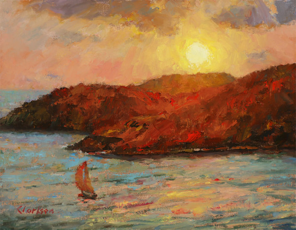 Low Yellow Sun - Oil Painting