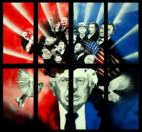 Bernie's Headache, original 8 panel painting