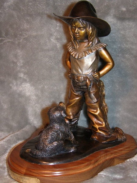 Bronze Sculpture Girl with Puppy