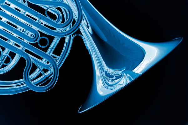 Blue on Black French Horn 2079. 03