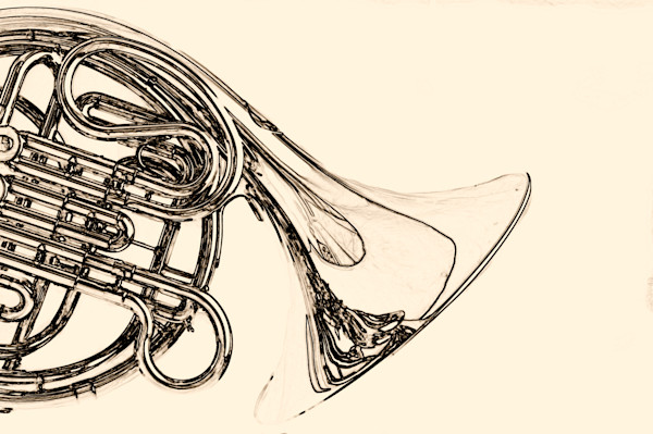 Classic French Horn BW Picture 2080.24