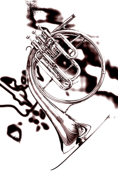 Antique Classic French Horn Sepia Print 2080.20