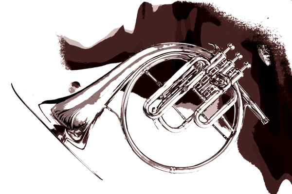 Sepia French Horn Picture Print 2080.34
