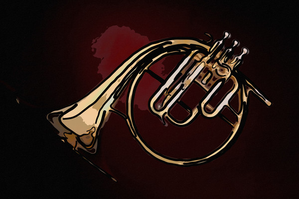 Antique French Horn Large Wall Art 2081.41