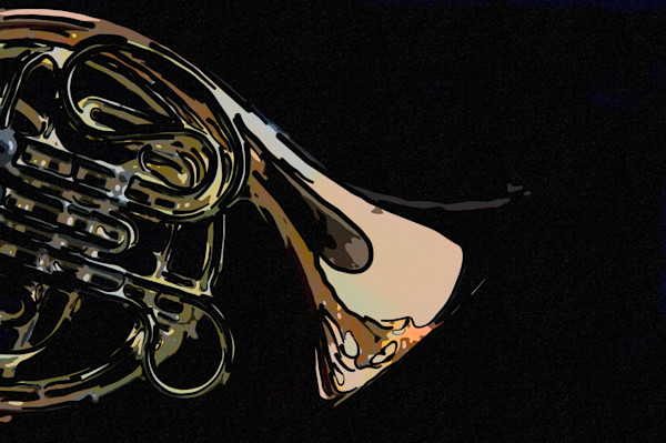 French Horn Painting 2081.50 on Black
