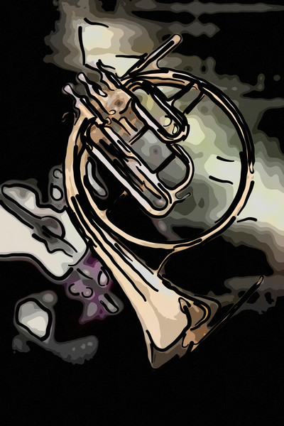 French Horn Painting 2081.49 Antique Music Art