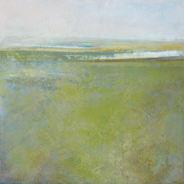 Peridot Pastures - Abstract Landscape Painting by Victoria Primicias