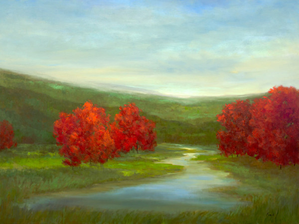 """RED TREES OF AUTUMN   36x48"""""""
