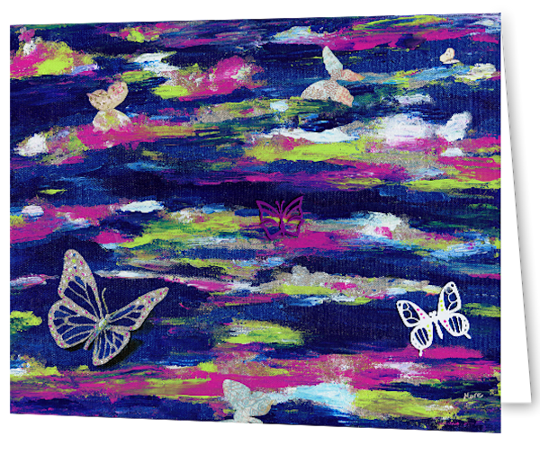 Uniquely made greeting cards in an 8 pack set printed with original artwork of Metamorphosis by Mary Anne Hjelmfelt