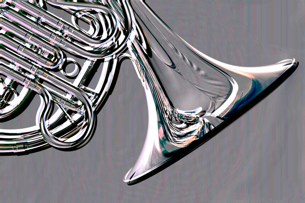 French Horn Embossed Meteal Print 2082.26