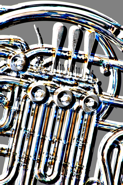 French Horn Embossed Art Photograph Prints