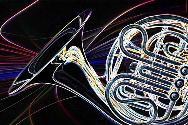 Modern French Horn Drawing Print 2083.29
