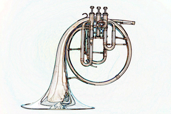 Classic French Horn Watercolor Print 2084.38