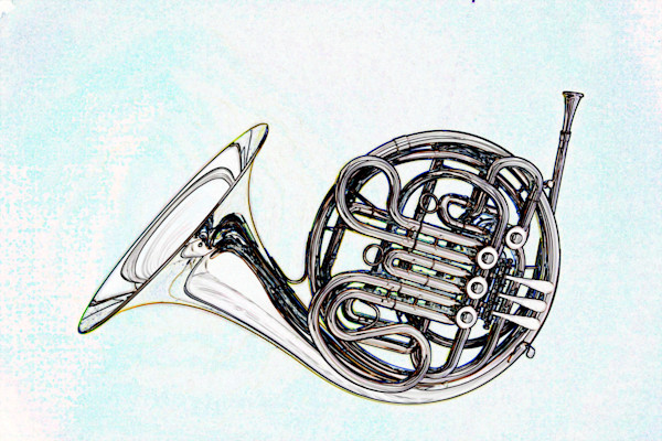 Complete French Horn Watercolor Print 2084.48