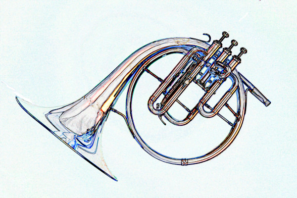Antique French Horn Watercolor Print 2084.33