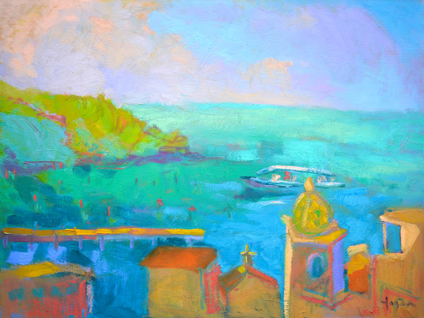 Italian Coastal Art Print Painting, Passage II by Dorothy Fagan