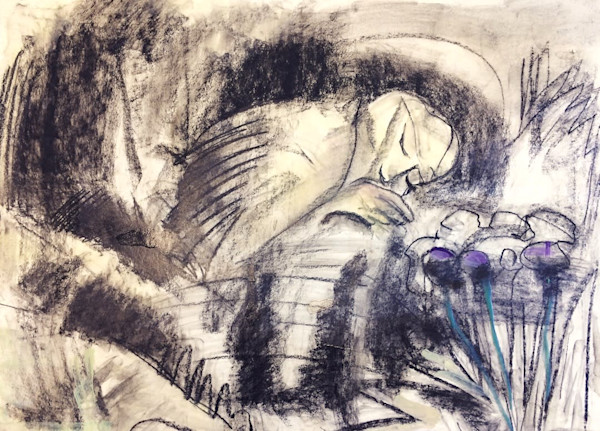 Dreaming sleeping woman charcoal drawing with encaustic wax