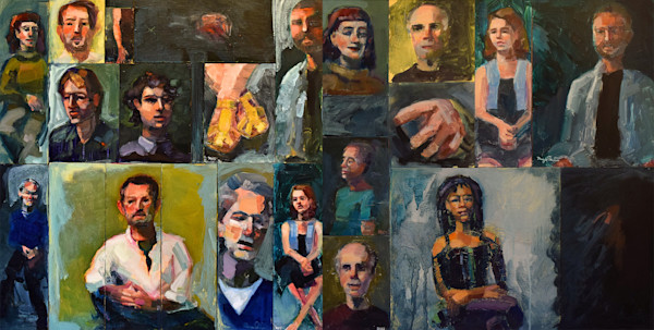 group portraits of 21 men and women in Philadelphia oil painting