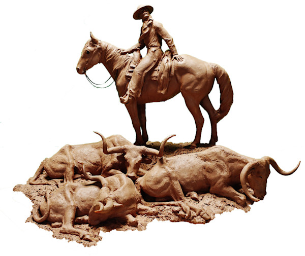 Cattle Drive Bronze Sculpture by Jeff Wolf - Midnight on the Chisholm Trail