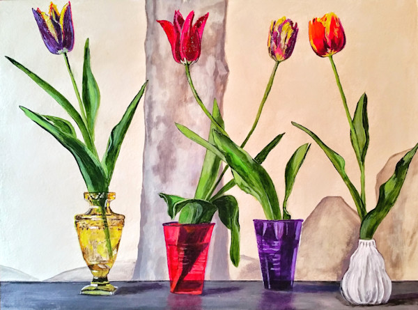 Tulips in Different Containers