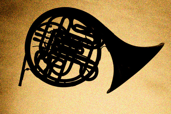 French Horn Silhouette Metal Art 2488.03