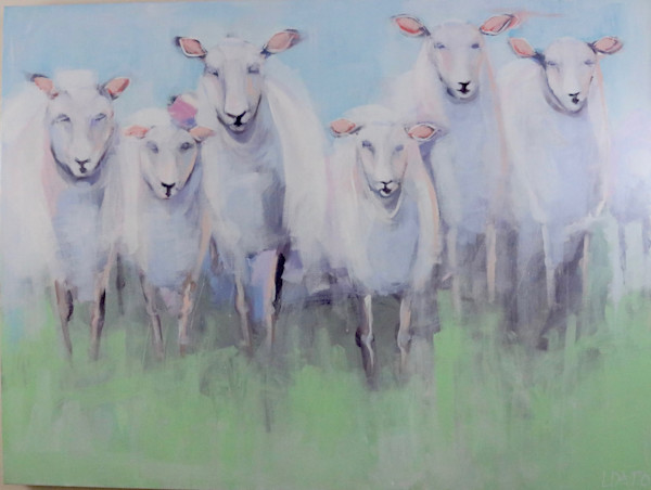 lesli devito original painting pastel colorful sheep
