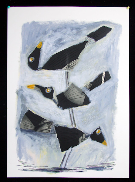 three black birds in a stack in this acrylic painting with drawing on paper by Mariann Johansen-Ellis, art, paintings