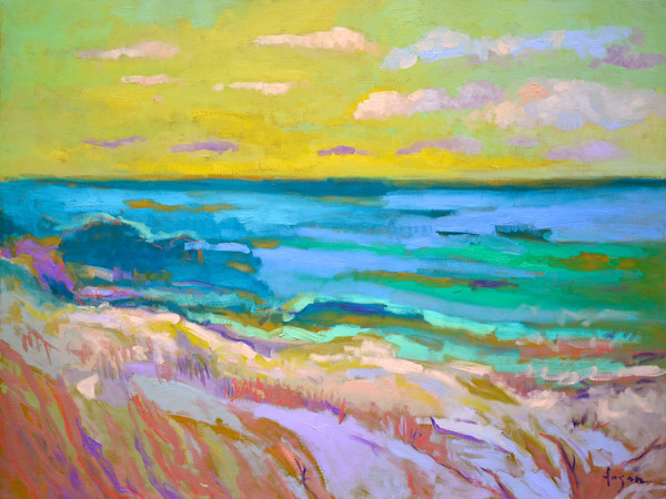 Large Abstract Coastal Landscape Oil Painting, Wings by Dorothy Fagan
