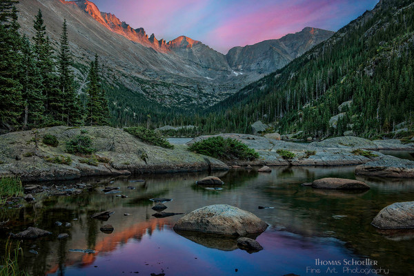 Fine art photography of Mills Lake and Longs peak at sunset/RMNP Colorado by Thom Schoeller