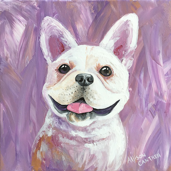 Frenchie acrylic painting Lavender Smile - original art by Allison Cantrell