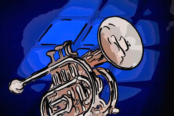 Classic Cornet on Blue Painting 2503.23
