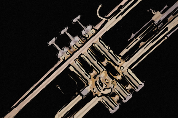Gold Trumpet on Black Painting 2503.25