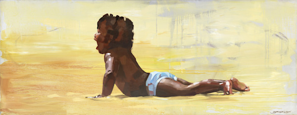 Painting of a boy on the beach painted by Bianca Berends