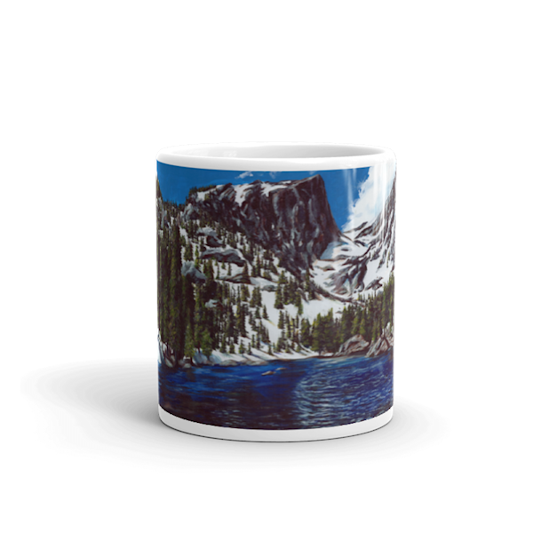 Mare's Mugs - ceramic coffee mug printed with bright and colorful Mare's art artwork of Dream Lake.