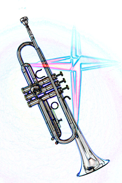 Trumpet with Cross Watercolor 2506.06