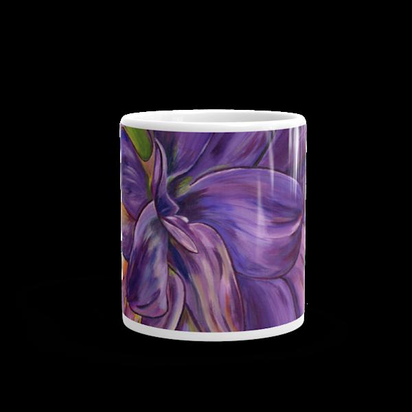 Mare's Mugs - ceramic coffee mug printed with bright and colorful Mare's art artwork of Dear Dahlia