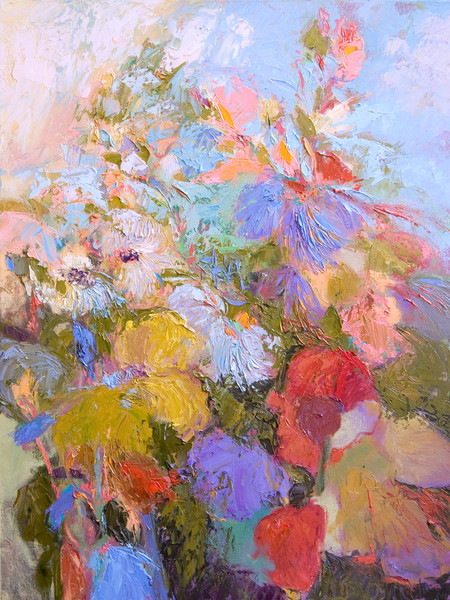 Colorful Abstract Floral Art Print on Canvas, All Her Glory by Dorothy Fagan